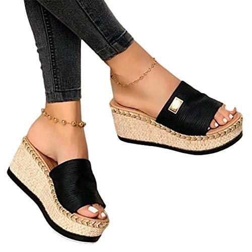 Damen Sandalen, Casual Damen Sommer Wedge Peep Toe High Heel Plattform Pantoletten Anti-Rutsch-Sandalen Schwarz 36