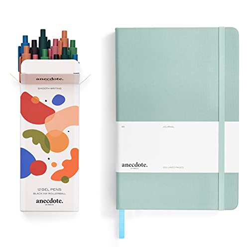 The Anecdote Lined Notebook Journal (Dutch Blue color) and the Anecdote Set of 12 Black Ink Retractable Gel Pen Set (0.5mm), Fine Point, Smooth Writing in a Chic and Fun Design (12 Count)