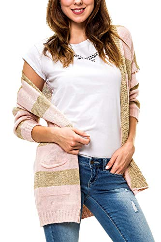 Hailys Damen Strickjacke mit Lurex Streifen V-Neck Cardigan (M/L, Rose)