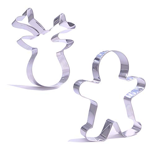 Giant Christmas Cookie Cutter Set - 2 Pieces – Large 5 Inch Santa's Reindeer Face, Gingerbread Man – Stainless Steel