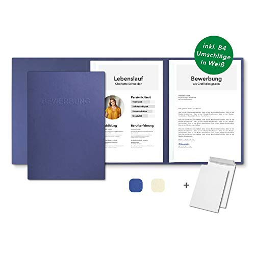 10 Stück 3-teilige Bewerbungsmappen Blau in feinster Lederstruktur - inkl. 10 Versandumschläge in Weiß - mit 2 Klemmschienen und hochwertiger Prägung \'\'BEWERBUNG\'\' - direkt vom Hersteller STRATAG