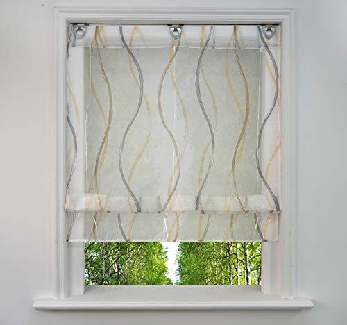 BAILEY JO Ösenrollo mit Wellen Druck Design Raffrollo Voile Transparent Raffgardine mit U-Haken (BxH 100x130cm, Bunt Sand1)