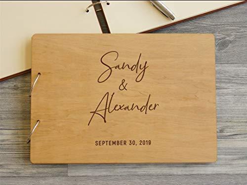 Mylifemylove - Libro de invitados de boda rústico personalizado tamaño A5 con 50 páginas personalizadas de madera, libro de invitados de compromiso, libro de firmas de boda (madera, A5 (50 páginas)