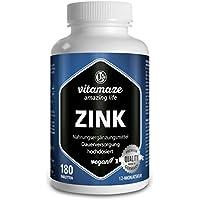 Vitamaze® Zinc, comprimidos veganos de 25 mg para 12 meses, la mejor biodisponibilidad, producto de calidad made in Germany sin estearato de magnesio