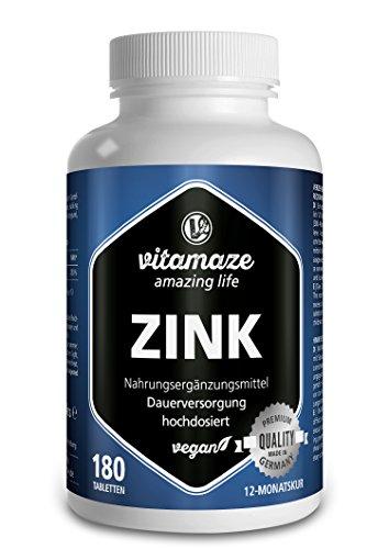 Vitamaze® Zinc 25 mg 180 Comprimes Vegan pour 12 Mois, Meilleure Biodisponibilité, Qualité Allemande, Complement Alimentaire sans Additifs Inutiles
