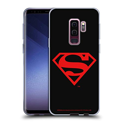 Head Case Designs Officially Licensed Superman DC Comics Black and Red Logos Soft Gel Case Compatible with Samsung Galaxy S9+ / S9 Plus