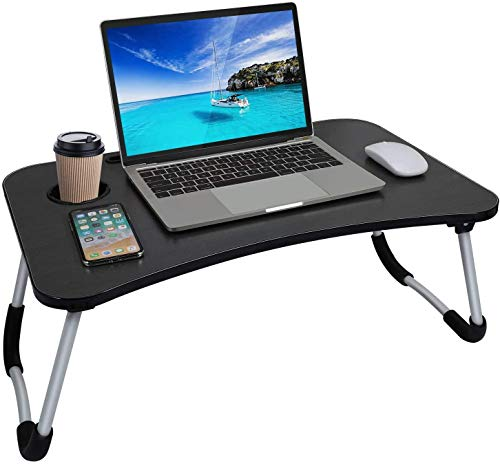 Laptop Bed Table,Portable Lap Desk,Notebook Stand Reading Holder,Notebook Table Dorm Desk with Foldable Legs & Cup Slot,for Eating Breakfast,Reading,Watching Movie on Bed/Sofa (Black)