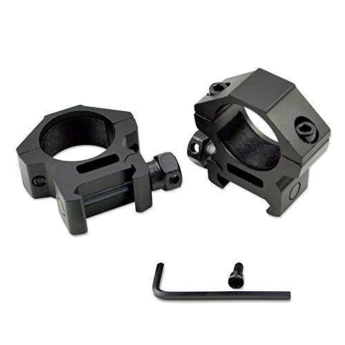 Sniper Low Profile Rifle Scope Rings, Picatinny Rail System, Black, 1 in Diameter