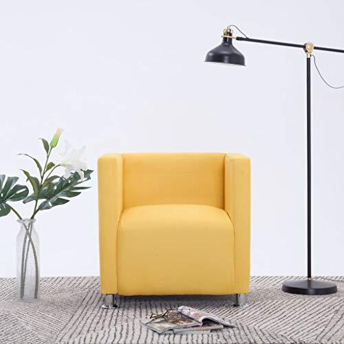Festnight- Sessel | Loungesessel | Cocktailsessel | Armsessel | Polstersessel | Clubsessel | Wohnzimmersessel | Dunkelgrau/Gelb Polyester und Holzrahmen mit Verchromte Beine 69 x 54 x 71 cm