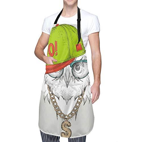 Ajustable Colgante de Cuello Personalizado Delantal Impermeable,El cartel con la imagen del retrato del búho con sombrero hip-hop,Babero de Cocina Vestido para Hombres Mujeres con 2 Bolsillos