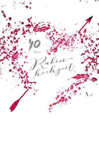 Rubinhochzeit Karte, Karte zur Rubinhochzeit, Karte zum 40. Hochzeitstag, Karte in Folie, im Format DIN B6 176 x 125 mm, inkl. Umschlag, Mot.: Herz