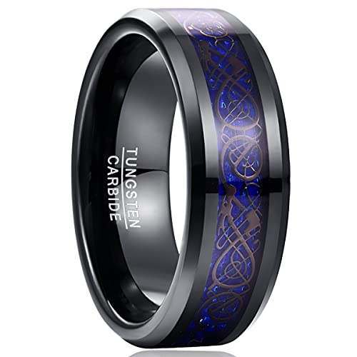 NUNCAD Unisex Ring Paare Wolfram mit Keltischen Drachen + Kohlefasern Blassrot für Hochzeit Valentinstag Trauung Party 63(23)