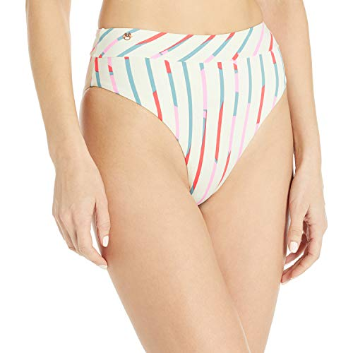 Maaji Women's High Waist Bikini Bottom, Heartbreak Cream Stripe, Medium