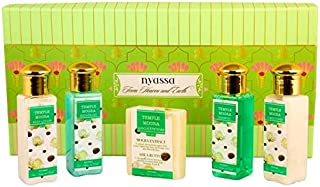 Nyassa Bath Ritual Gift Set with the signature Temple Mogra fragrance containing travel friendly sizes of a soap, shower gel, body lotion, shampoo and conditioner.No Parabens, Against animal testing. Vegetarian