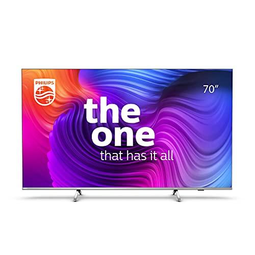 Philips 70PUS8506 Smart TV LED UHD 4K da 70 pollici Android TV con Ambilight, Immagini HDR, Sistema Dolby Vision Cinematografico e Audio Atmos, Compatibile con Google Assistance Alexa, Argento Chiaro
