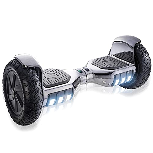 """RIDE SWFT Sonic Hoverboard Self Balancing Scooter,10"""" Off Road Pneumatic Tires, Top Speed of 9 mph, 8 Mile Distance,LED Lights, Bluetooth Speakers, 27 Point Safety Inspection, Monochromatic Gunmetal"""