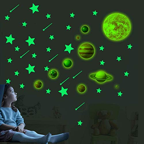 Glow in The Dark Planets for Ceiling - 35pcs Bright Glow in The Dark Planets and Glow in The Dark...
