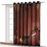 Rideau de fenêtre de sport avec motif grunge - Motif rugby - Avec éléments de jeu - Gagner du sport - Dos thermique - Panneau simple - 203,2 x 274,3 cm - Pour décoration d'intérieur - Marron et noir