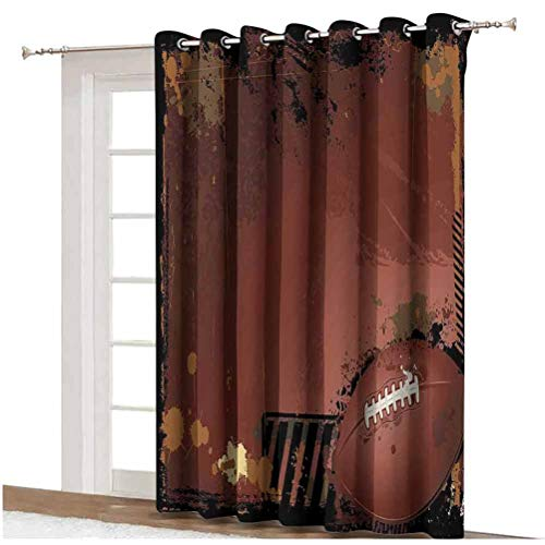 Sports Blackout Curtain Maroon Grunge Rugby Theme with Game Elements Competition Win Sports Artisan Image Grommets Panels Printed Curtains ,Single Panel 80x84 inch,for Patio Door Brown Black