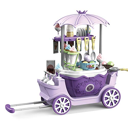 2CFUN Ice Cream Shop Toys for Kid - Toddler Ice Cream Maker and Store Cart Pretend Playset Scoop and Learn Edutational Toy Gift