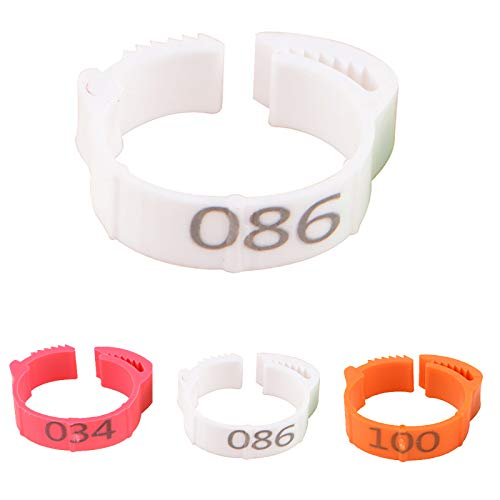 Petyoung 100 PCS Chicken Leg Rings - Numbers Poultry Leg Bands Bird Foot Rings for Pigeon Chicks Bantam Chicken