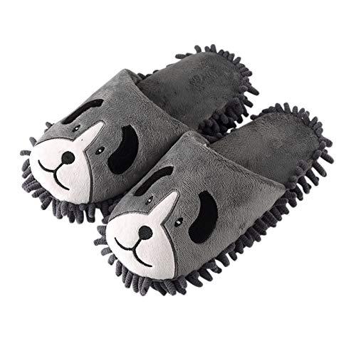 KKLDB Unisex Hausschuhe rutschfeste Pantoffeln Warm Plüsch Mop Slippers Home Cozy Leichte Slippers (40,Hündchen)