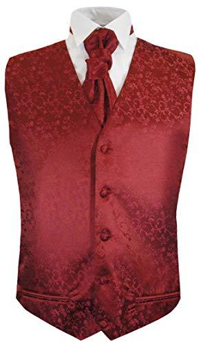 Festliche Jungen Anzug Weste mit Plastron 2tlg Bordeaux rot floral für Kinderanzug 146-152 (12 Jahre)