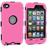 Skin Hybrid Case Compatible with Apple iPod Touch 4th Generation, Black Hard/Light Pink