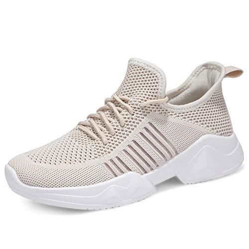 uubaris Women Trail Running Lightweight Mesh Tennis Sneaker Fashion Athletic Walking Shoes Beige