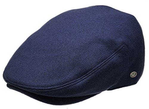 Epoch Men's Classic Newsboy Cap, Flat Ivy Hat, Snap Brim Herringbone Tweed Cap (X-Large, Navy)