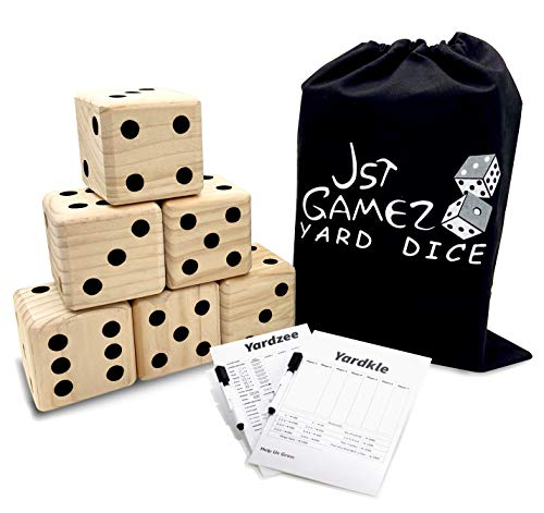 Giant Wooden Set of 6 Yard Dice with Yardkle and Yardzee Scoreboard-Yard Outdoor Games for Adults and Family Giant Lawn Games-Includes Carry Bag