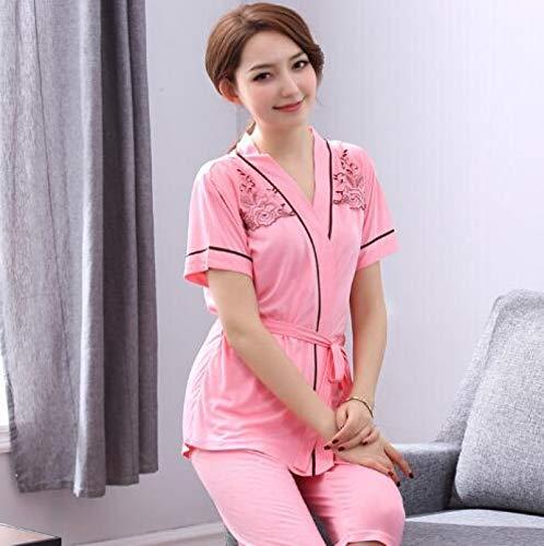 Sommer 100% Baumwolle Kurzarm Wadenlange Hosen Damen Pyjamas Set V-Ausschnitt...