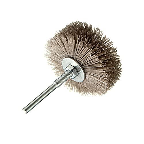 80# - 600# Cepillo de rueda de nailon para pulir Herramienta abrasiva Cepillo para pulir muebles de carpintería Vástago de 6 mm Amoladora de cabeza de 80 mm de diámetro, 240