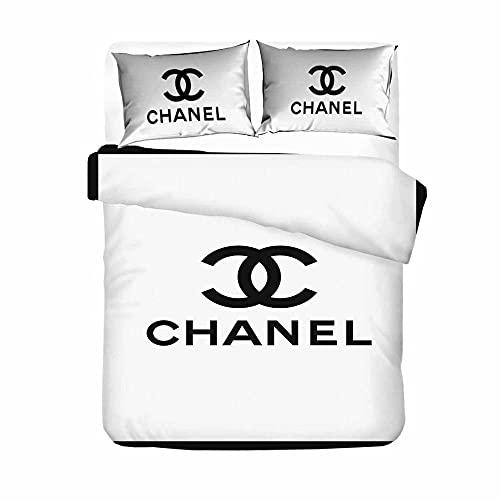 Weiße Einfachheit Bettwäsche 200 × 200 cm Chanel Logo Wendebettwäsche Set 3 Teilig Microfaser Bettbezug Mit Reißverschluss Und 2 Kissenbezüge 80 X 80 cm
