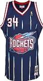 Mitchell & Ness Camiseta de baloncesto Hakeem Olajuwon 1996-97, réplica de Houston Rockets de la NBA azul marino XS