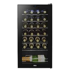 Baridi 28 Bottle Wine Cooler, Fridge, Touch Screen, LED, Low Energy B, Black from Dellonda