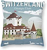 BONRI Zwitserland Oberhofen Kasteel Europa Stad Poster