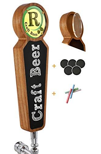 Manijas grandes de madera para grifos de pizarra para kegerator bar restaurante cervecería manualidades manijas para grifos de cerveza para todos los amantes de la cerveza (Blanco)