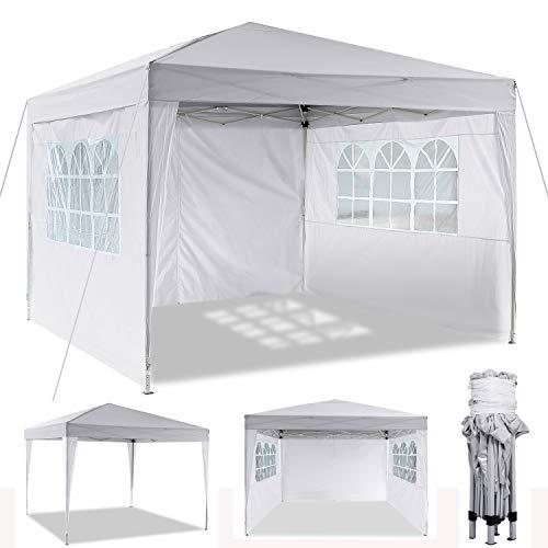3x3m/3x6m Faltpavillon, Pavillon, wasserdicht gartenpavillon, festzelt partyzelt hochklappbare Gazebo Festival Sonnenschut (3x3m, Weiß)