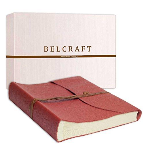Belcraft Capri Álbum de Fotos de Piel Italiana, Hecho a Mano, Incluye Caja, A4 (23x30 cm) Coral