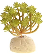F Fityle Planta Artificial De Plástico De Reptiles, Hierba De Terrario Decoración De Hábitat para Mascotas Flexible para Lagarto Crestado Lagarto Araña Escorpi - 12x10.5x6cm