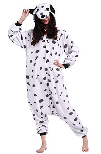 Pijama Animal Entero Unisex para Adultos con Capucha Cosplay Pyjamas Perro Manchado Ropa de Dormir Traje de Disfraz para Festival de Carnaval Halloween Navidad