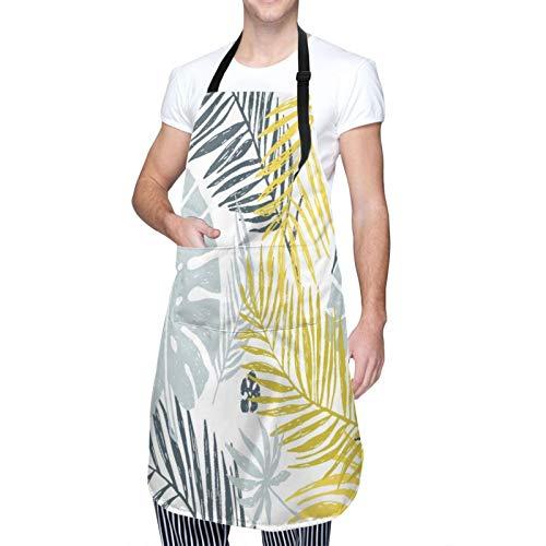 Ajustable Colgante de Cuello Personalizado Delantal Impermeable,Hojas de palmera gris amarillo exóticas de oro en la playa del árbol,Babero de Cocina Vestido para Hombres Mujeres con 2 Bolsillos