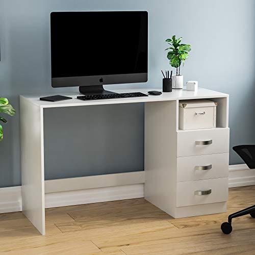 Vida Designs Filey Escritorio para Ordenador con 3 cajones y Estante, Oficina en el hogar, Mesa de Estudio para Juegos con Almacenamiento, Muebles, Color Blanco, White, 75 x 120 x 50 Cm