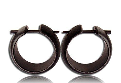 CHICNET - Pendientes de aro de madera tallados a mano, redondeados, color marrón oscuro, con pasador de cuerno, 20 mm, unisex, estilo tribal, orgánicos