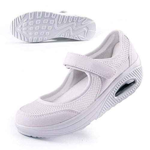 LuMon Mujer Ligero Elástico Entrenador, Mujer Confort a Pie Enfermera Zapatos, Mujer Zapatos para Caminar Antideslizamiento Transpirable Cuñas Zapatillas para Fitness - Blanco, 37