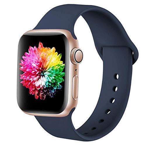 MAPPE Cinturino Sportivo per Apple Watch 38Mm 42Mm per Iwatch Series 6 5 4 3 Cinturino in Silicone con Cinturino per Cinturino Apple Watch 40Mm 44Mm, Cina, Blu Notte