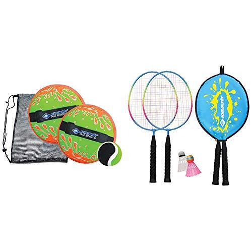 Schildkröt Neopren Klettball Set, 2 Neopren Handfänger mit weitenverstellbarer Handschlaufe, 1 Ball (Ø 6,25 cm) & Kinder Federball Set Junior, 2 verkürzte Schläger 45,5 cm, 2 Federbälle, in 3/4 Hülle