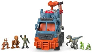 Imaginext Jurassic World Dinosaur Hauler Gift Set,Includes Dinosaur Hauler Vehicle,Projectile Launcher,Net Projectile,Asset Containment Unit Figure and 5 Dinosaurs,Great Gift Idea