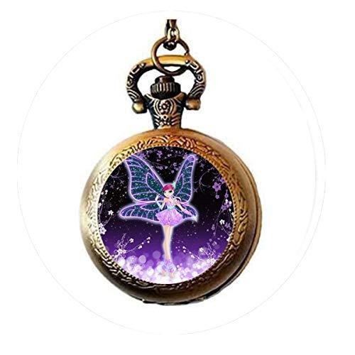 bab Halskette mit süßem Cartoon-Anhänger, Geschenk für Damen, magische Fee, Glas, 8 Taschenuhr, Halskette